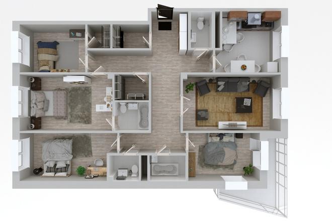 3d визуализация плана помещения 12 - kwork.ru