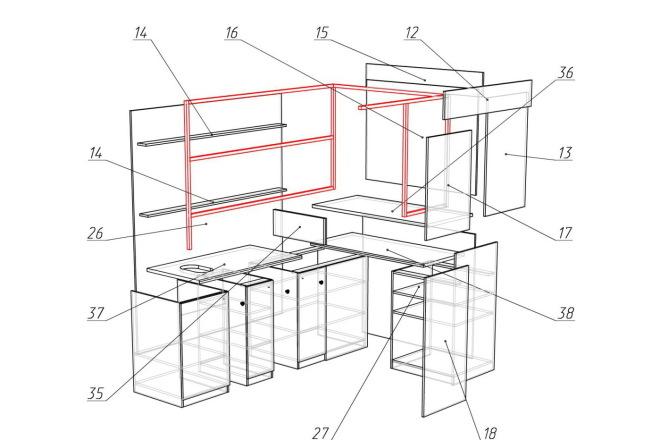 Чертежи мебели для производства в программе базис мебельщик 42 - kwork.ru