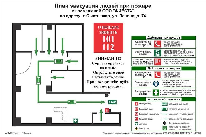 Разработка плана эвакуации по ГОСТу 33 - kwork.ru
