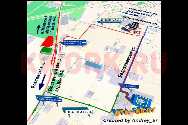 Понятная 3D карта или схема проезда к вашему объекту. 3Д карта 2 - kwork.ru