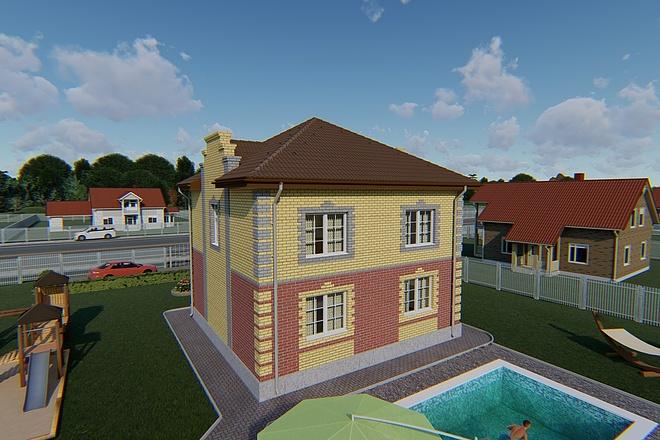 Фотореалистичная 3D визуализация экстерьера Вашего дома 79 - kwork.ru