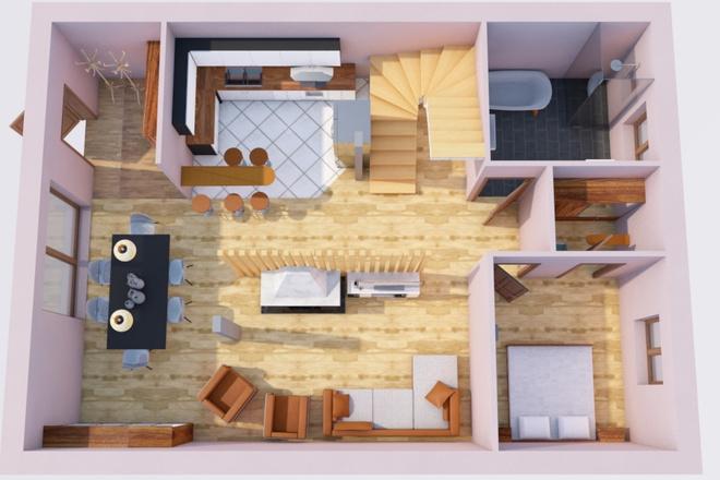 Создам планировку дома, квартиры с мебелью 18 - kwork.ru