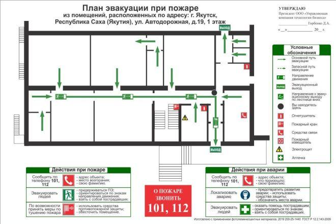 Разработка плана эвакуации по ГОСТу 16 - kwork.ru