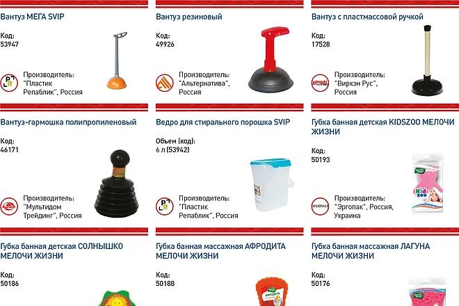 Автоматизированная верстка каталога по таблице 2 - kwork.ru