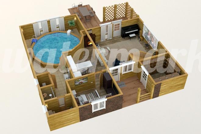 3d визуализация плана помещения 22 - kwork.ru