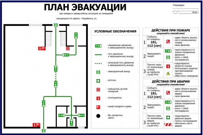 Нарисую эскиз плана эвакуации по ГОСТу 3 - kwork.ru
