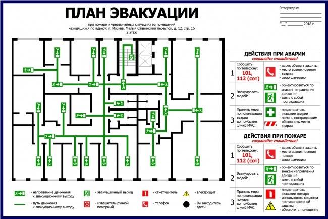 Нарисую эскиз плана эвакуации по ГОСТу 12 - kwork.ru