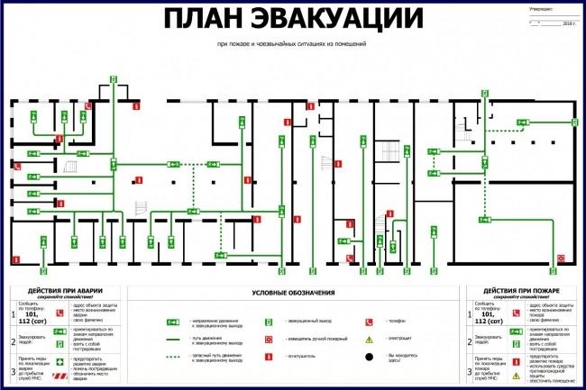 Нарисую эскиз плана эвакуации по ГОСТу 7 - kwork.ru