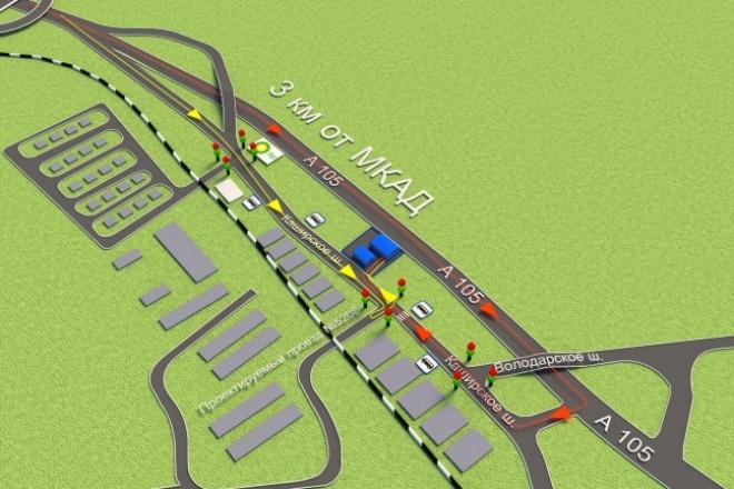 Нарисую красивую 3D схему проезда, карту 27 - kwork.ru
