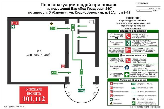 Разработка плана эвакуации по ГОСТу 31 - kwork.ru