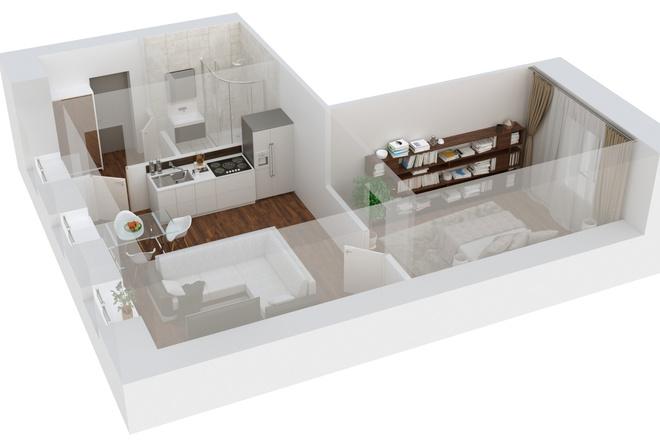 3d визуализация плана помещения 10 - kwork.ru