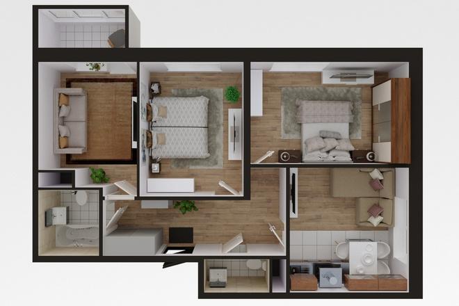 3d визуализация плана помещения 9 - kwork.ru