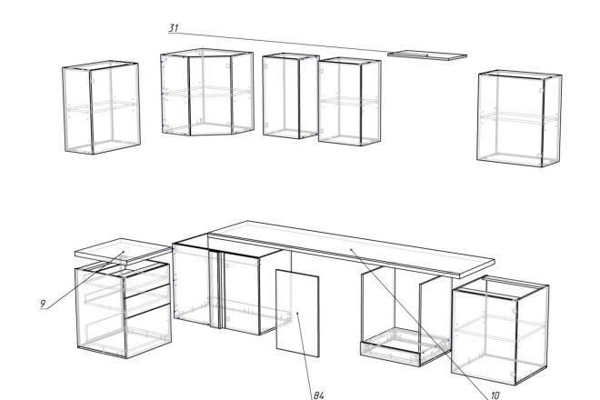 Чертежи мебели для производства в программе базис мебельщик 53 - kwork.ru