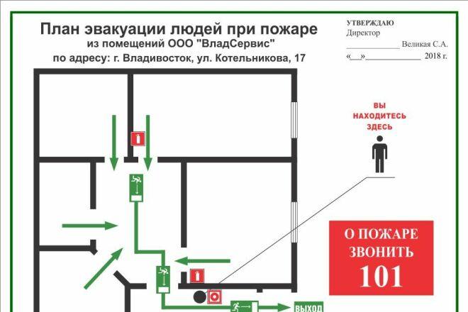Разработка плана эвакуации по ГОСТу 49 - kwork.ru