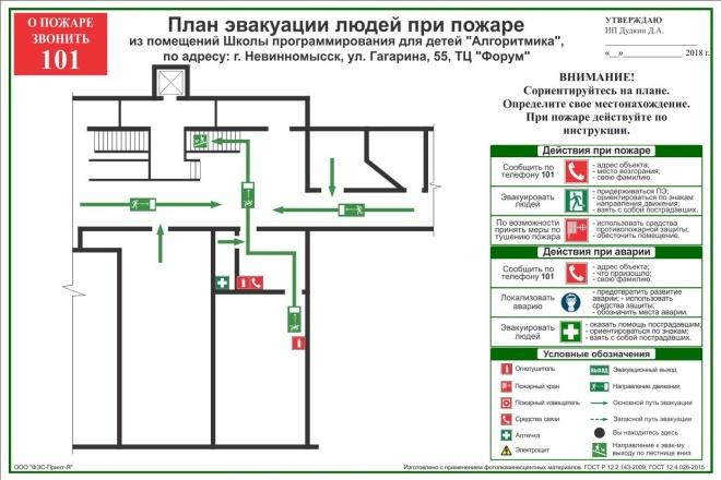 Разработка плана эвакуации по ГОСТу 36 - kwork.ru