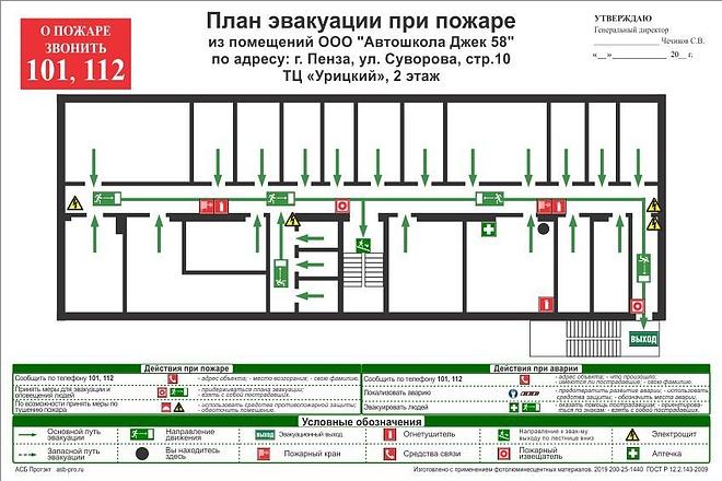 Разработка плана эвакуации по ГОСТу 32 - kwork.ru