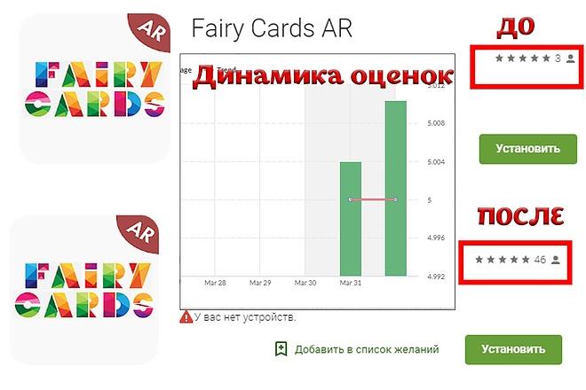 40 установок в Google Play 2 - kwork.ru