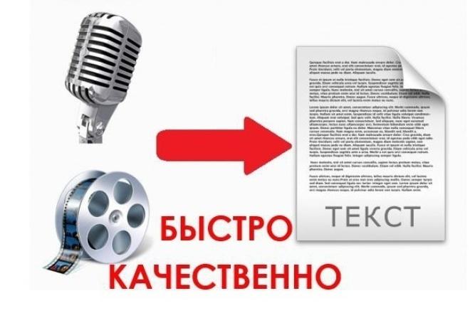 Переведу 60 минут аудио и видео файлов в текстНабор текста<br>Быстро перепечатаю текст из аудио или видео. Правильно пишу термины и названия. Вам не придется исправлять английские названия, написанные на русском языке. На выполнение кворка я беру два дня. Это для того, чтобы не было просрочек из-за каких-либо не обстоятельств с моей стороны. Но сам заказ я стараюсь делать максимально быстро.<br>