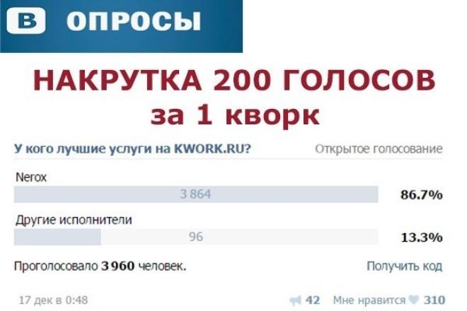 накручу 200 голосов в опросе вконтакте 1 - kwork.ru