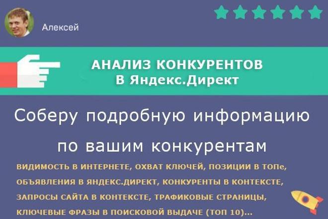 Анализ конкурентов в Яндекс.ДиректСтатистика и аналитика<br>Соберу полную информацию по вашим конкурентам (до 30 конкурентов) в Яндекс.Директ, поисковой выдачи. Что получите? Укажу все объявления в Яндекс. Директ. Напишу всех ваших конкурентов, присутствующих в Директе. Получите поисковые запросы, по которым находят ваших конкурентов в поиске. Предоставлю страницы конкурентов с самым высоким трафиком. Напишу по каким поисковым запросам клиенты переходят на эти страницы. Получите все поисковые фразы, по которым ваши конкуренты выходят в ТОП 10. Бонус: проведу полный анализ вашего сайта по вышеперечисленным пунктам.<br>