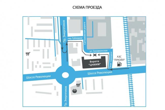Красивая карта, схема проезда 1 - kwork.ru
