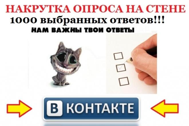 Накручу опрос на стене ВКонтакте до 1000 выбранных вариантов ответа 1 - kwork.ru