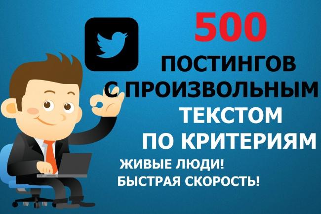 Сделаю 500 постингов твита с вашим текстомПродвижение в социальных сетях<br>Живые пользователи из России и стран СНГ будут делать твиты с указанным Вами текстом. Только высококачественные твиты из живых аккаунтов. Скорость выполнения - 20-50 твитов в сутки (если без критериев). Задания выполняются живыми людьми из своих аккаунтов за вознаграждение! Все аккаунты имеют аватар. Внимание! Ограничение твиттера - 140 символов. Если текст длиннее, он будет обрезан. В твитах возможно размещать ссылки.<br>