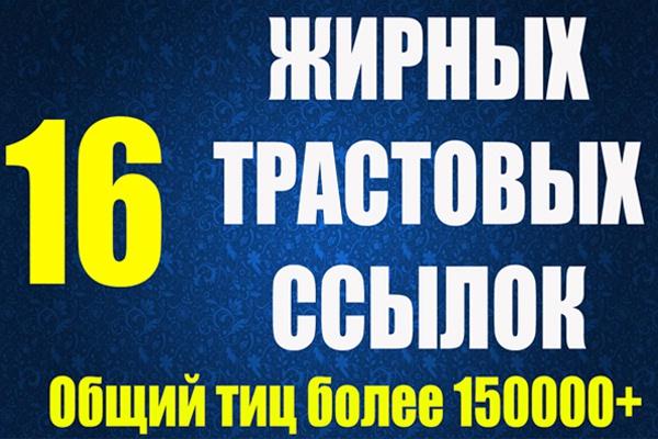 16 вечных жирных ссылок ТИЦ от 2500 общий более 155000 1 - kwork.ru