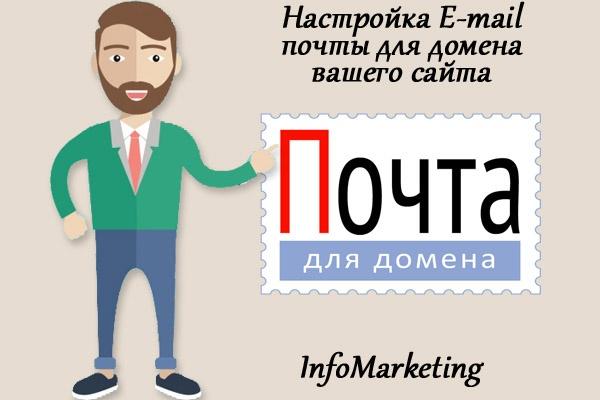Настройка E-mail почты для домена вашего сайтаАдминистрирование и настройка<br>Настройка E-mail почты для домена вашего сайта В кворк входит: 1. Настроенная почта для домена в аккаунте Яндекса или Mail 2. Создаю до 10 электронных ящиков с вашим доменом 3. Расскажу как создавать почту без моего участия! Пример: Ваш домен: domen1.ru Ваша почта: test@domen1.ru, test2@domen1.ru, test3@domen1.ru и т.д.<br>
