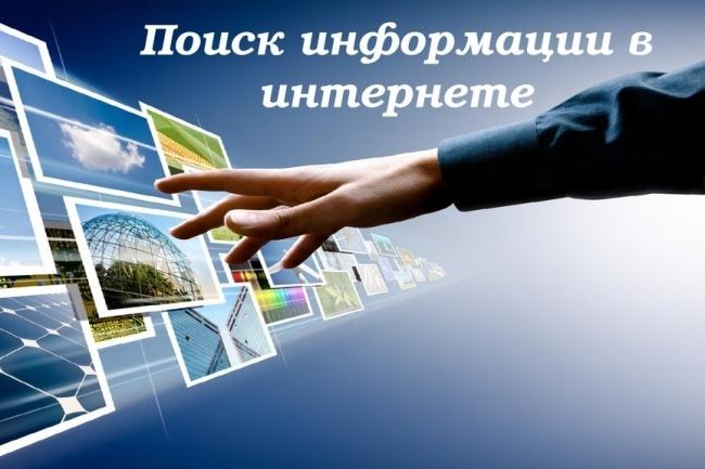 Поиск информации в Интернете по Вашему запросуПерсональный помощник<br>Помогу найти материал для Вашей работы. Нужные книги, картинки, ролики или другие файлы. Информацию предоставлю в виде ссылок на ресурсы (от 1 до 20 ссылок) либо в виде скаченных файлов (от 1 до 3 файлов в зависимости от объема информации) Важное: информация в свободном доступе сети Интернет! ! !<br>