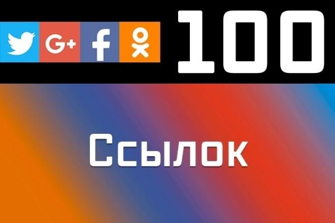 100 ссылок из социальных сетейПродвижение в социальных сетях<br>Социальные сигналы с каждый днем все больше учитываются поисковыми системами при распределении пунктов рейтинга между бесчисленным количеством веб-ресурсов. Они важны, поскольку являются отражением человеческой реакции на информацию, которую Вы предоставляете. __________ Эта работа выполняется людьми из их социальных аккаунтов. __________ Нужно больше ссылок? - Заказывайте несколько кворков. При заказе более одного кворка бонус к услуге 12% (100 ссылок + 10% = 110 ссылок)?? __________ ? В чем польза? ? улучшение доверия поисковых систем к вашему сайту ? ускорение индексирования ресурса за счет социальных сигналов __________ ? Почему стоит заказать у меня? ? безупречная репутация ? вручную, проверю каждую ссылку перед сдачей заказа ? быстрое выполнение (1-3 дня) ? ссылки вечные. Не пропадут со временем ? ручная работа ? удобный отчет о проделанной работе __________ ? Из каких социальных сетей будут ссылки: Одноклассники Twitter Google+ Facebook __________ Рекомендую заказывать дополнительные опции, чтобы ваши ссылки как можно скорее оказались в индексе поисковых систем!<br>