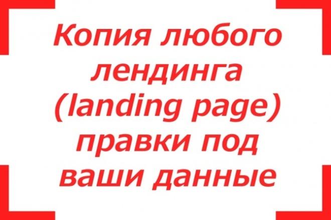Копия любого лендинга (landing page) и правки под ваши данные 1 - kwork.ru