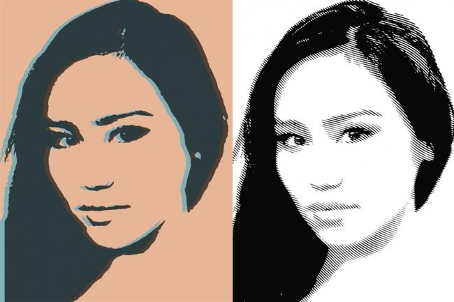Создам 2 портрета в стиле поп-арт и гравюра 1 - kwork.ru