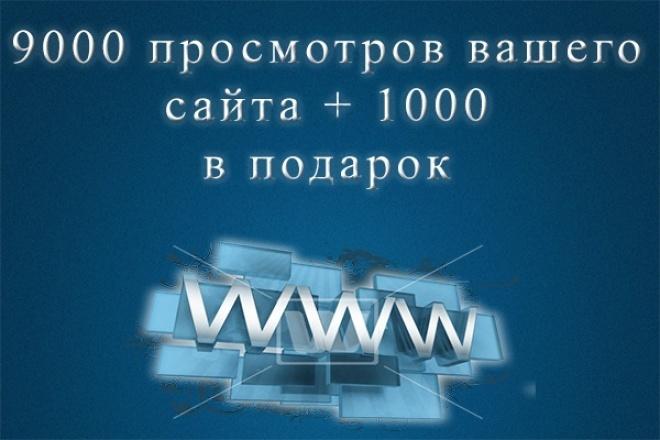 9000 просмотров + 1000 в подарокТрафик<br>9000 просмотров вашего сайта + 1000 в подарок Только качественные, живые люди. В течении 6 дней будут посещать ваш сайт. У нас действуют скидки (в доп.опциях)<br>