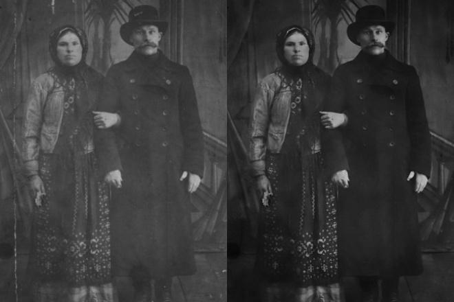 Обработка старых фотоОбработка изображений<br>Реставрация старых фотографий любого качества, восстановление потерянных фрагментов, удаление заломов, царапин, пятен. Повышение резкости, контрастности, осветление, эффект сепии.<br>