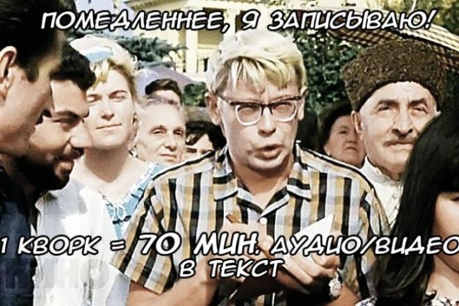 Перевод аудио и видео в грамотный текст 1 - kwork.ru