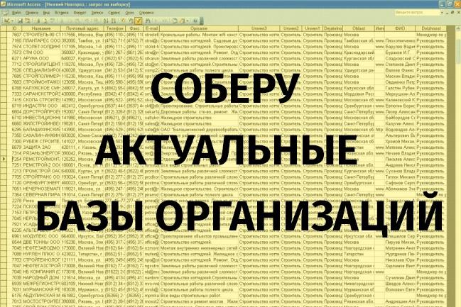 Соберу базу контактов организаций 5 городов из Яндекс.Карт 1 - kwork.ru
