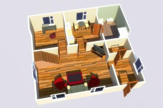 Создам 3D визуализацию интерьеров - квартиры, дома, офиса 1 - kwork.ru