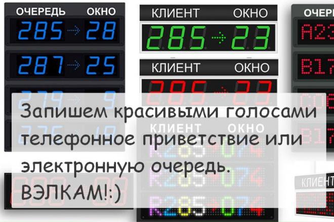 Запишем красивым голосом телефонное приветствие (IVR), электронную очередь 1 - kwork.ru