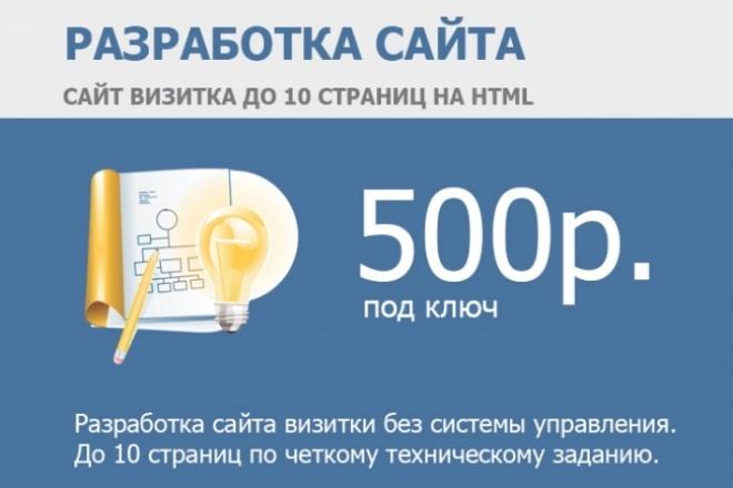 Сайт-визитка на HTML под ключ до 10 страниц. Без системы управления 1 - kwork.ru