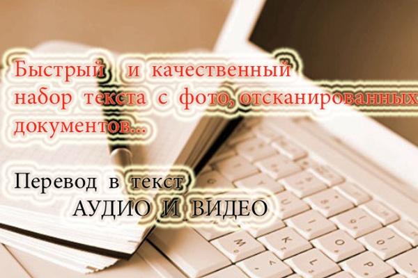 Перевод аудио, видео в текст любых форматов. Качественный набор текста 1 - kwork.ru
