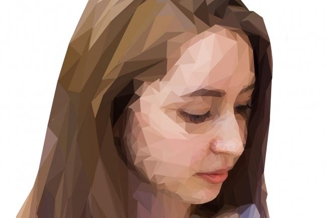 Обработка портретов в фотошопеИллюстрации и рисунки<br>Создам ваш портрет в стиле Low Poly. поп арде. Портрет будет отличным и запоминающимся подарком на свадьбу или день рождения<br>