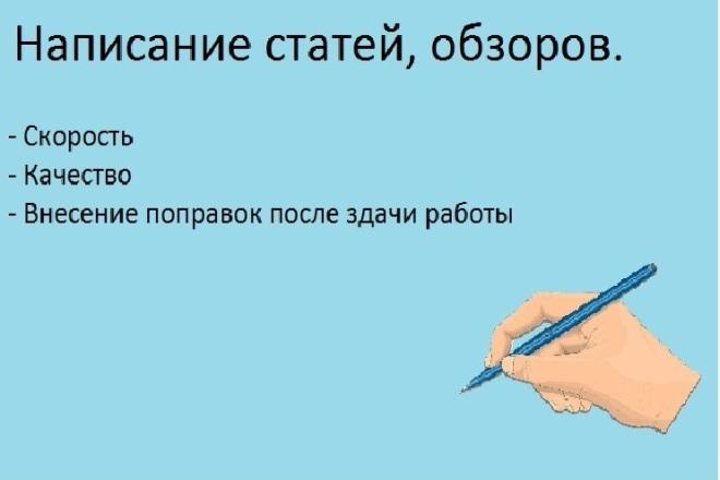 Написание статей, обзоров 1 - kwork.ru