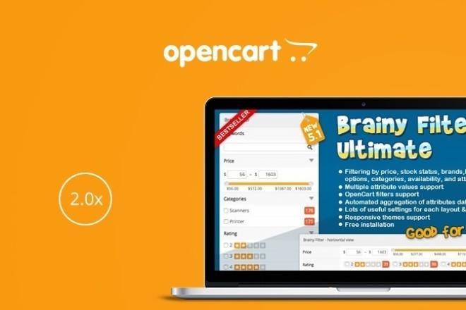 Модуль Brainy Filter Ultimate OC2Скрипты<br>Brainy Filter Ultimate OC2 - продуманный и отлично сделанный модуль, который позволяет фильтровать товары по ключевым словам, брендам, цене, наличию, рейтинге, доп.параметров или атрибутов товара. Brainy Filter имеет стильный дизайн, одинакого хорошо работает на пк и мобильных устройствах: Android, IOS. [DEMO] http://bit.ly/2tFiIBb Brainy Filter Ultimate OC2 - это: Поддержка нескольких значений атрибутов Фильтр по словам, цене, атрибутам, наличию и рейтингу Кэширование значений для увелечения скорости Выбор макета с отдельным набором настроек Использует Ajax SelectBox, флажки, переключатели, ползунки Включение или отключение различных блоков и многое другое.. Поддерживаемые версии Opencart: 2.0.0.0, 2.0.1.0, 2.0.1.1, 2.0.2.0, 2.0.3.1, 2.1.0.1, 2.1.0.2, 2.2.0.0, 2.3.0.0, 2.3.0.1, 2.3.0.2 Внимание! В рамках данного кворка вам устанавливается модуль, архив с модулем не предоставляется. Если вам нужно настроить модуль - выберите соответствующую опцию.<br>