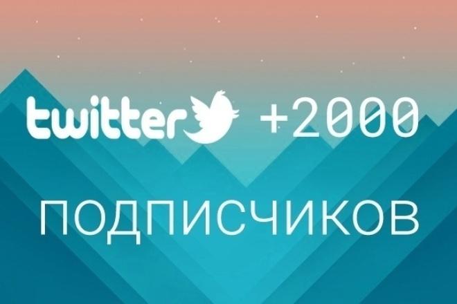 2000+ живых подписчиков в Twitter. Читатели в ТвитерПродвижение в социальных сетях<br>Только живые исполнители с активными аккаунтами. Добавление 2000 подписчиков-читателей на ваш аккаунт в Twitter! Все с аватарками! Срок выполнения: 1-3 суток, зависит от аккаунта. Процент отписки: до 1%. Данная услуга предназначена для увеличения числа подписчиков и поднятия рейтинга аккаунта, что способствует повышению притока уже целевых подписчиков.<br>