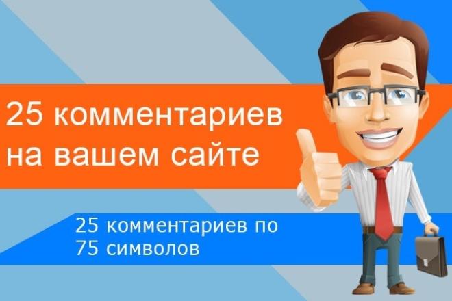Размещу 25 комментариев на страницах вашего сайтаНаполнение контентом<br>Размещу 25 комментариев по 75 символов на страницах вашего сайта. Обязательно, у вас должна быть размещена система комментирования по типу Disqus или другая + комментарии вы должны одобрить до времени сдачи работы или на время отключить модерацию.<br>