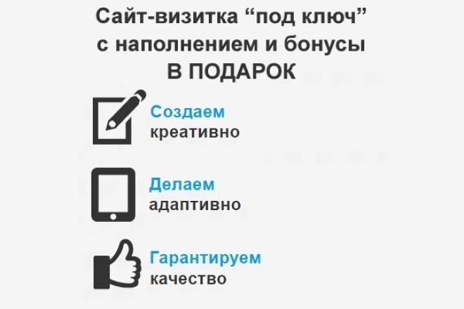 Профессионально! Сайт-визитка под ключ (наполнение, адаптивный дизайн и бонусы) 1 - kwork.ru