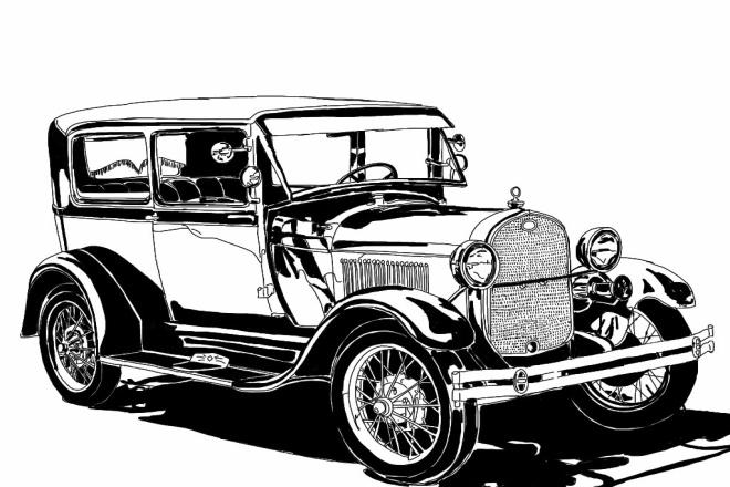 Иллюстрации ретро автомобилей в деталях 1 - kwork.ru