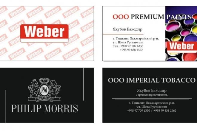 Дизайн визиткиВизитки<br>Дизайн визитки, разработанный с учетом всех Ваших потребностей и пожеланий и полностью готовый для отправки в печать. Предлагается 2 макета, которые редактируется до окончательного утверждения.<br>