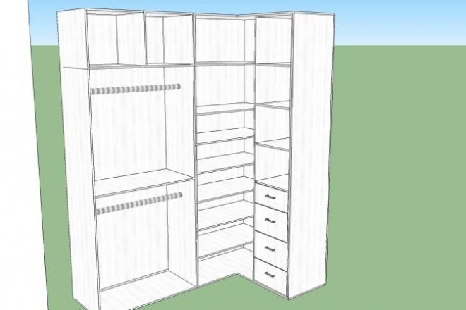 Дизайн мебелиФлеш и 3D-графика<br>Создам дизайн мебели, отрисую в 3D формате в программе SketchUp. В 1 кворк входит до 2 м погонных мебели.<br>